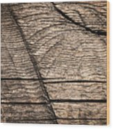 Old Wooden Board With Notches By Sawing Wood Print