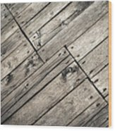 Old Wooden Boards Nailed Wood Print