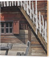 Old Wooden Cabin Log Detail Wood Print