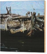 Old Wooden Fishing Boat Wood Print