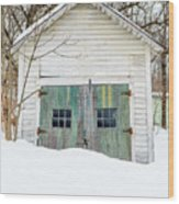 Old Wooden Garage In The Snow Woodstock Vermont Wood Print