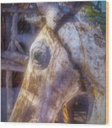 Old Wooden Horse Head Wood Print