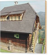 Old Wooden House On Mountain Wood Print