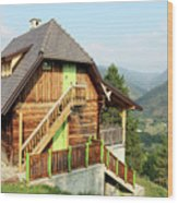 Old Wooden House On Mountain Landscape Wood Print