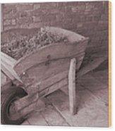 Old Wooden Wheelbarrow Wood Print