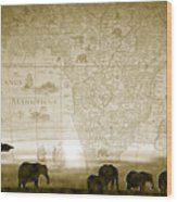 Old World Africa Antique Sunset Wood Print