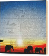 Old World Africa Cool Sunset Wood Print