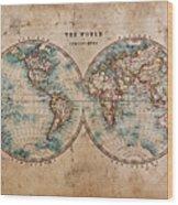 Old World Map In Hemispheres Wood Print by Richard Thomas