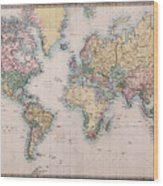 Old World Map On Mercators Projection Wood Print