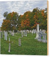 Old Yard Cemetery Stowe Vermont Wood Print