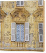 Old Yellow Building With Lace Curtain In Nice, France Wood Print