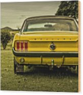Old Yellow Mustang Rear View In Field Wood Print