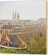 Old Zagreb Panorama In Morning Fog Wood Print