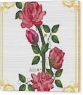 Olde Rose Pink With Leaves And Tendrils Wood Print