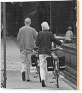 Older Couple In The Park Wood Print