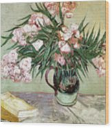 Oleanders And Books Wood Print