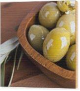 Olive Bowl Wood Print