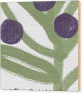Olive Branch Hanukkah Card- Art By Linda Woods Wood Print