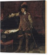 Oliver Cromwell Opening The Coffin Of Charles I  Wood Print