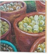 Olives By The Crock Wood Print