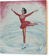 Olympic Figure Skater Wood Print