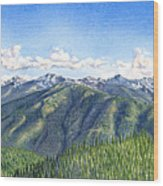 Olympic Mountains Wood Print