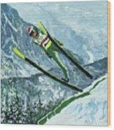Olympic Ski Jumper Wood Print