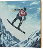 Olympic Snowboarder Wood Print