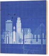 Omaha Blueprint Skyline Wood Print