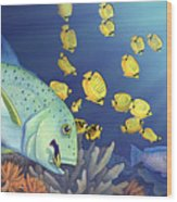 Omilu Bluefin Trevally Wood Print