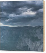 Ominous Clouds Over Glacier Point Wood Print