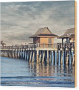 On A Cloudy Day At Naples Pier Wood Print