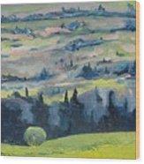 On A Field Of Dandelions Wood Print
