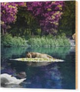 On A Lake Wood Print