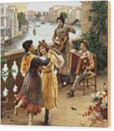 On A Venetian Balcony Wood Print