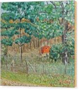 On Big Laurel In Autumn No.2 Wood Print