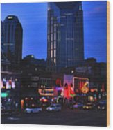On Broadway In Nashville Wood Print