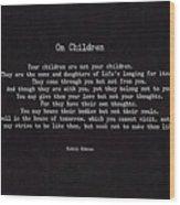 On Children Wood Print