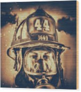 On Duty And Into Fire_dramatic Wood Print