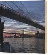 On Duty By Brooklyn Bridge New York Wood Print