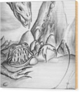 On Planet Of Monsters Wood Print