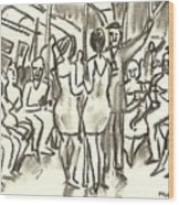 On The A, New York City Subway Drawing Wood Print