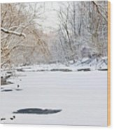 On The Bank Of A Snow Cover Stream Wood Print