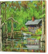 On The Bayou Wood Print