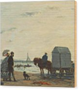 On The Beach At Trouville Wood Print