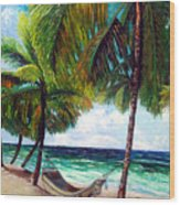On The Beach Wood Print