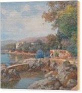 On The Beach Of Abbazia Wood Print