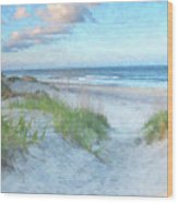 On The Beach Watercolor Wood Print