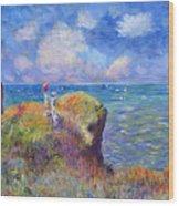On The Bluff At Pourville - Sur Les Traces De Monet Wood Print