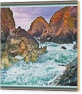 On The Coast Of Cornwall L A With Decorative Ornate Printed Frame. Wood Print